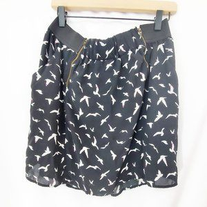 MODCLOTH Vanity Bird Heart Print Chiffon Skirt GUC